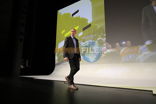 Christopher Froome (GBR) introduced on stage at the Tour de France 2020 route presentation held in the Palais des Congrès de Paris (Porte Maillot), Paris, France. 15th October 2019.<br /> Picture: Eoin Clarke | Cyclefile<br /> <br /> All photos usage must carry mandatory copyright credit (© Cyclefile | Eoin Clarke)