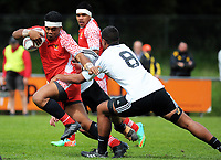 Apitoni To'ia in action during the rugby match between Tonga Schools and NZ Maori Under-18 at Porirua Park in Wellington, New Zealand on Friday, 6 October 2017. Photo: Dave Lintott / lintottphoto.co.nz