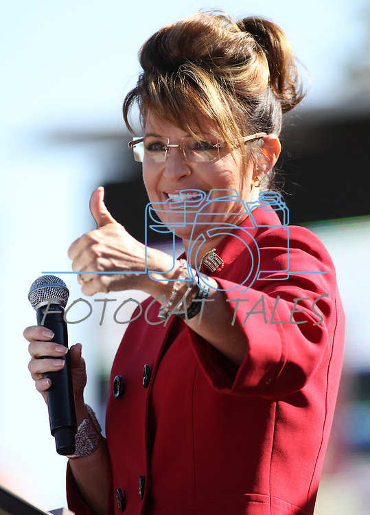 Sarah Palin speaks to the crowd at the Tea Party Express kick off Monday morning, Oct. 18, 2010, in Reno, Nev. .Photo by Cathleen Allison