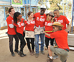 Jeremy Allen White, Shanola Hampton, Emma Kenney, William H. Macy, Kristen Bell, Glynn Turman and Donis Leonard Jr. at the Habitat For Humanity With Stars From Shamless and House Of Lies help build homes in Los Angeles, CA. October 25, 2014.