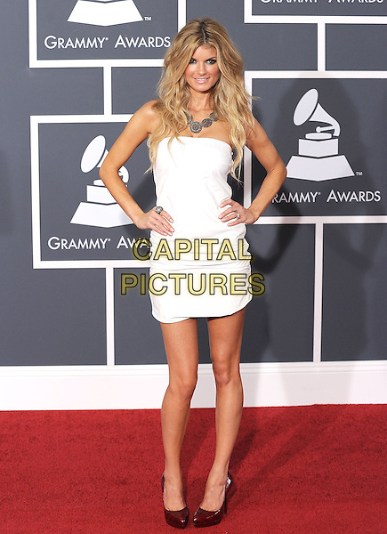 MARISSA MILLER.Arrivals at the 52nd Annual GRAMMY Awards held at The Staples Center in Los Angeles, California, USA..January 31st, 2010.grammys full length white strapless dress hands on hips silver necklace ring .CAP/RKE/DVS.©DVS/RockinExposures/Capital Pictures