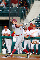 Austin Slater #5 of the Stanford Cardinal bats against the USC Trojans at Dedeaux Field on April 5, 2013 in Los Angeles, California. (Larry Goren/Four Seam Images)