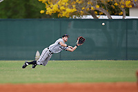 Edgewood Eagles center fielder Bryan Sternig (1) makes a diving catch during the second game of a double header against the Bethel Wildcats on March 15, 2019 at Terry Park in Fort Myers, Florida.  Bethel defeated Edgewood 3-2.  (Mike Janes/Four Seam Images)