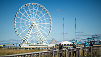 ATLANTIC CITY, NJ - OCTOBER 18: People walk at the boardwalk on October 18, 2019 in Atlantic City, New Jersey.  Atlantic City has seen a resurgence, to its improved economy thanks to the launch of online gambling in the state. Sports betting, which kicked off last year, has also given the gaming industry a positive jolt. local media informed. (Photo by Eduardo MunozAlvarez/VIEWpress)