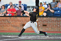 Bristol Pirates Aaron Shackelford (13) swings at a pitch during game two of the Appalachian League, West Division Playoffs against the Johnson City Cardinals at TVA Credit Union Ballpark on August 31, 2019 in Johnson City, Tennessee. The Cardinals defeated the Pirates 7-4 to even the series at 1-1. (Tony Farlow/Four Seam Images)