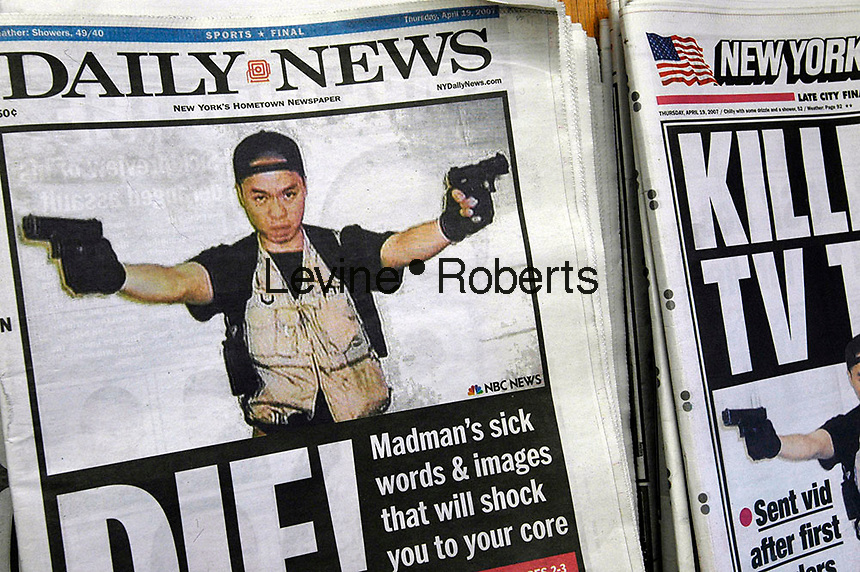 The New York Daily News and the New York Post feature on their front pages on April 19, 2007 photographs sent to WNBC by Virginia Tech shooter Cho Seung-Hui. Seung-Hui tapes his manifesto between shootings and mailed the tapes to WNBC. (© Richard B. Levine)