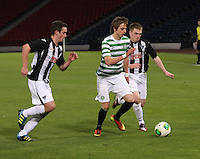 Patrik Twarzdik sandwiched between Declan O'Kane (left) and Allan Smith in the Dunfermline Athletic v Celtic Scottish Football Association Youth Cup Final match played at Hampden Park, Glasgow on 1.5.13. ..