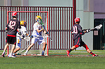 Santa Barbara, CA 04/16/16 - Steve Koressel (Chapman #10) and Peter Brydon (UCSB #30) in action during the final regular MCLA SLC season game between Chapman and UC Santa Barbara.  Chapman defeated UCSB 15-8.