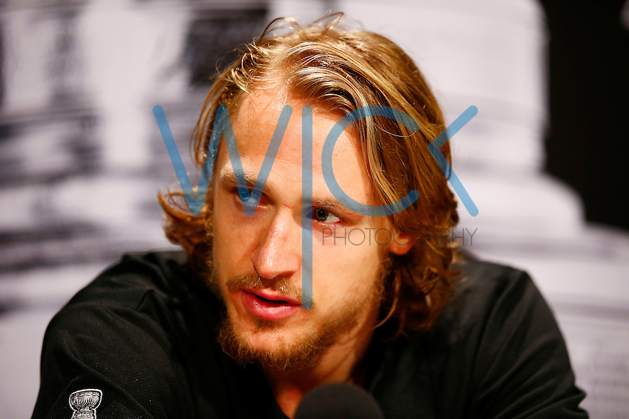 Carl Hagelin #62 of the Pittsburgh Penguins speaks during media day prior to the start of the Stanley Cup Final series between the Pittsburgh Penguins and the San Jose Sharks at Consol Energy Center in Pittsburgh, Pennslyvania on May 29, 2016. (Photo by Jared Wickerham / DKPS)