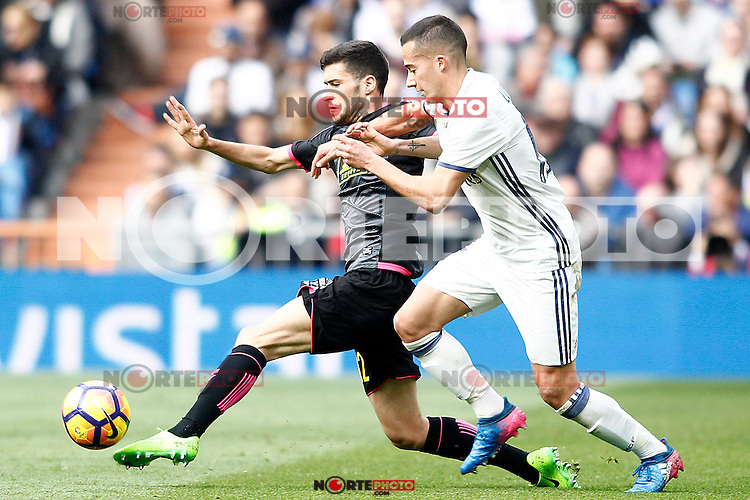 Real Madrid's Lucas Vazquez (r) and RCD Espanyol's Aaron Martin during La Liga match. February 18,2017. (ALTERPHOTOS/Acero) /Nortephoto.com