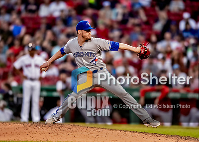 Jun 22, 2019; Boston, MA, USA; Toronto Blue Jays pitcher Ken Giles on the mound to close out the game in the 9th inning against the Boston Red Sox at Fenway Park. Mandatory Credit: Ed Wolfstein-USA TODAY Sports