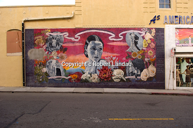 A mural in Hollywood depicts Dolore Del Rio, an early screen star of Hispanic origin.