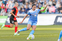 Bridgeview, IL, USA - Saturday, April 23, 2016: Chicago Red Stars midfielder Vanessa DiBernardo (10) during a regular season National Women's Soccer League match between the Chicago Red Stars and the Western New York Flash at Toyota Park. Chicago won 1-0.