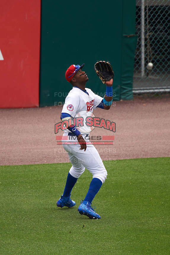 Buffalo Bisons center fielder Junior Lake (22) catches a fly ball during a game against the Louisville Bats on June 23, 2016 at Coca-Cola Field in Buffalo, New York.  Buffalo defeated Louisville 9-6.  (Mike Janes/Four Seam Images)