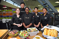 Deloitte Gallery catering staff, with Epicure chef Ngani Kosh (centre). Day two of the 2017 HSBC World Sevens Series Wellington at Westpac Stadium in Wellington, New Zealand on Sunday, 29 January 2017. Photo: Dave Lintott / lintottphoto.co.nz