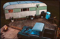 Upcycled B&B made from old caravan and Landrover.