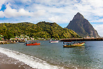 A beach in Soufrier on the island St. Lucia, Guadeloupe, Caribbean