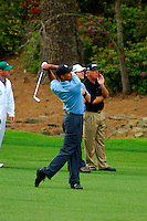 Masters Golf Tournament 2005, Augusta National Georgia, USA. Tiger Woods hitting his  second shot on the 13th hole, Azalea. <br /> <br /> Champion 2005 - Tiger Woods <br /> <br /> Note: There is no property release or model release available for this image.