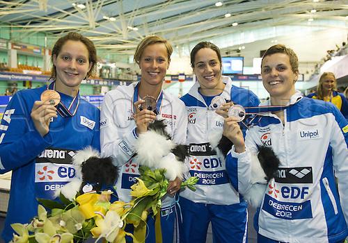 21.05.2012.  Debrecen Hungary. 4x100 Freestyle Women ITA  Alice MIZZAU Federica Pellegrini Erica  Erica Buratto Debrecen Hungary
