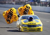 Sept. 29, 2012; Madison, IL, USA: NHRA pro stock driver Jeg Coughlin during qualifying for the Midwest Nationals at Gateway Motorsports Park. Mandatory Credit: Mark J. Rebilas-