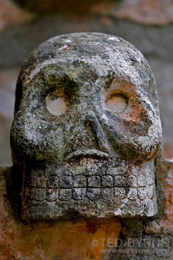 Stone skull sculpture