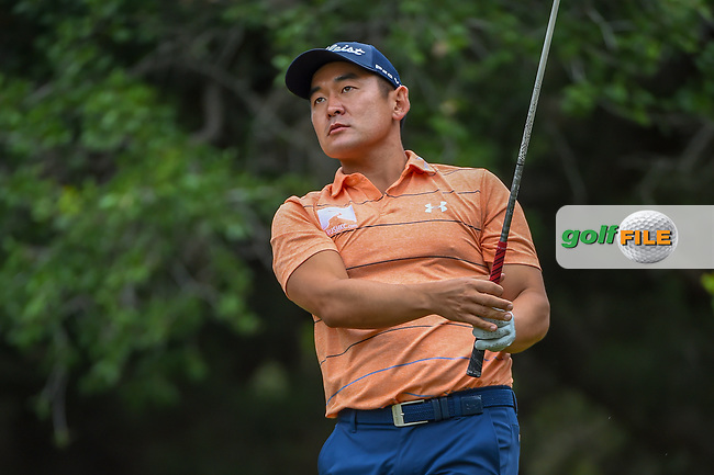 Andrew Yun (USA) watches his tee shot on 14 during Round 3 of the Valero Texas Open, AT&T Oaks Course, TPC San Antonio, San Antonio, Texas, USA. 4/21/2018.<br /> Picture: Golffile   Ken Murray<br /> <br /> <br /> All photo usage must carry mandatory copyright credit (© Golffile   Ken Murray)