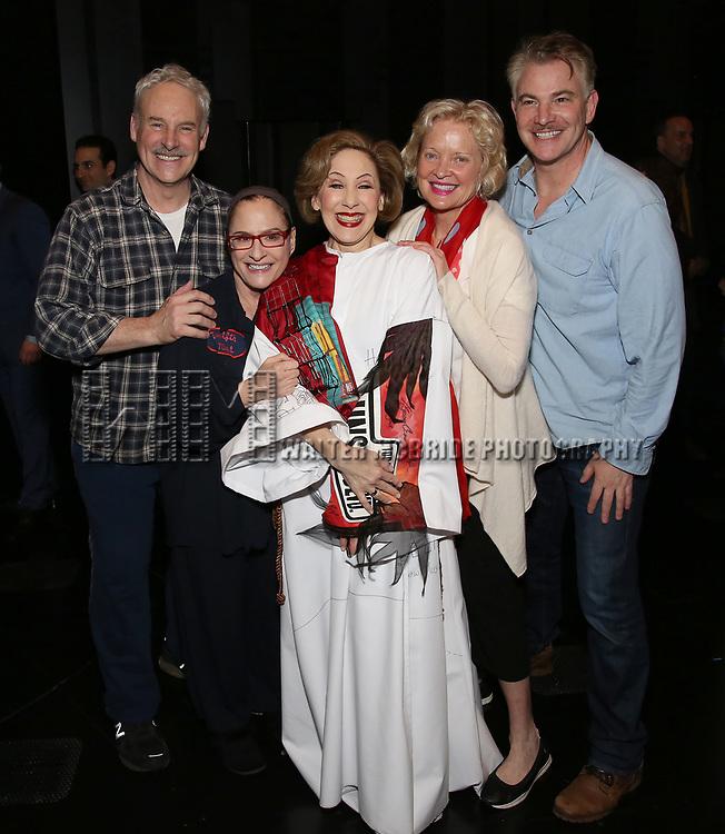 John Dossett, Patti Lupone, Joanna Glushak, Christine Ebersole and Douglas Sills during the Actors' Equity Gypsy Robe honoring Joanna Glushak for 'War Paint' at the Nederlander Theatre on April 6, 2017 in New York City