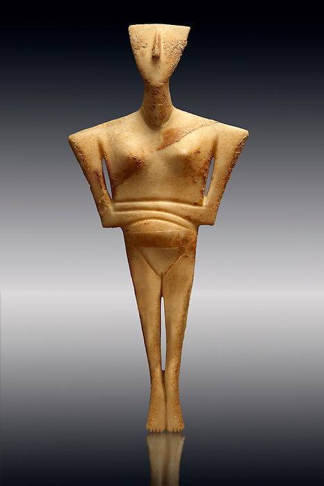 Neolithic Marble Female Figurine grave offering of the early Cycladic II period from the Chalandriani, from Syros. 2800-2300BC. Athens Archaeological Museum Ref No 6169.
