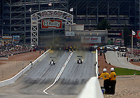 Mar 29, 2014; Las Vegas, NV, USA; Overall view of The Strip at Las Vegas Motor Speedway as NHRA top fuel dragsters race during qualifying for the Summitracing.com Nationals. Mandatory Credit: Mark J. Rebilas-USA TODAY Sports