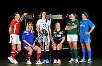 London, England. (L-R) Rachel Taylor of Wales, Marie Alice Yahe of France, Sarah Hunter of England, Susie Brown of Scotland, Fiona Coughlan of Ireland and Silvia Gaudino of Italy pose with the Women's Six Nations trophy during the RBS Six Nations launch at The Hurlingham Club on January 23, 2013 in London, England.