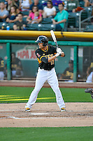 Nick Buss (17) of the Salt Lake Bees at bat against the Tacoma Rainiers in Pacific Coast League action at Smith's Ballpark on July 23, 2016 in Salt Lake City, Utah. The Rainiers defeated the Bees 4-1. (Stephen Smith/Four Seam Images)