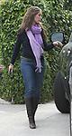 4-12-09 Exclusive.Jennifer Love Hewitt walking to her car in Los Angeles ca wearing a purple scarf ..AbilityFilms@yahoo.com.805-427-3519.www.AbilityFilms.com.