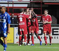 KV Kortrijk - AA Gent.Leon Benko scoort de 1-0 en viert met zijn ploegmakkers.foto VDB / BART VANDENBROUCKE