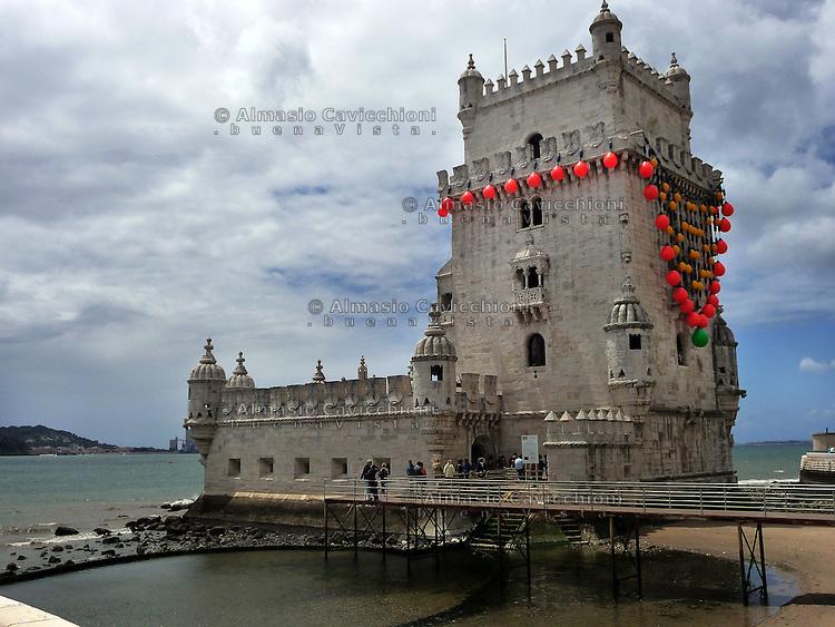 LISBONA Portogallo: Quartiere di Belem, Torre in stile Manuelino 1515/1521 Patrimonio dell'Umanita' dell'UNESCO.LISBON, Portugal: District of  Belem, Tower in Manuelino style 1515/1521 UNESCO World Heritage Site...