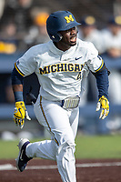 Michigan Wolverines second baseman Ako Thomas (4) runs to first base against the San Jose State Spartans on March 27, 2019 in Game 1 of the NCAA baseball doubleheader at Ray Fisher Stadium in Ann Arbor, Michigan. Michigan defeated San Jose State 1-0. (Andrew Woolley/Four Seam Images)