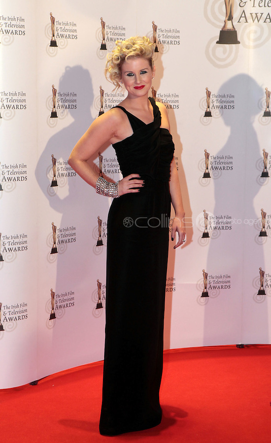 12/2/11 RTE's Sinead Kennedy on the red carpet at the 8th Irish Film and Television Awards at the Convention centre in Dublin. Picture:Arthur Carron/Collins