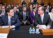 United States Senator Marco Rubio (Republican of Florida), left, and R. Alexander Acosta, Dean of Florida International University College of Law and US President Donald J. Trump's nominee for US Secretary of Labor, right, at the witness table prior to Acosta's confirmation hearing before the US Senate Committee on Health, Education, Labor & Pensions on Capitol Hill in Washington, DC on Wednesday, March 22, 2017.<br /> Credit: Ron Sachs / CNP