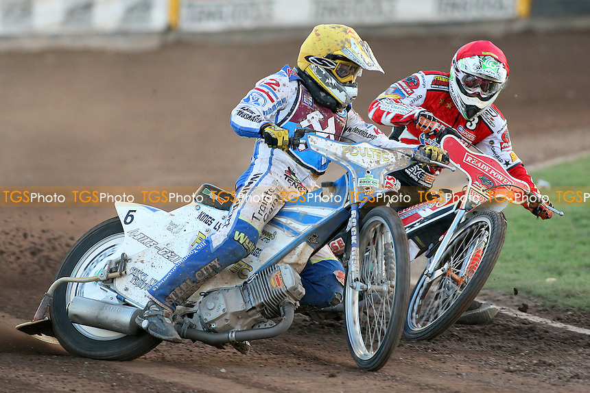 Heat 12: Doolan (yellow) and Schlein - Lakeside Hammers vs Peterborough Panthers - Sky Sports Elite League Speedway at the East of England Showground - 03/06/10 - MANDATORY CREDIT: Gavin Ellis/TGSPHOTO - Self billing applies where appropriate - Tel: 0845 094 6026