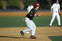 Matthew Acosta (6) of the USC Trojans takes his lead off of second base against the Wake Forest Demon Deacons at David F. Couch Ballpark on February 24, 2017 in  Winston-Salem, North Carolina.  The Demon Deacons defeated the Trojans 15-5.  (Brian Westerholt/Four Seam Images)