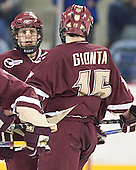 Nathan Gerbe, Stephen Gionta - The University of Massachusetts-Lowell River Hawks defeated the Boston College Eagles 6-3 on Saturday, February 25, 2006, at the Paul E. Tsongas Arena in Lowell, MA.