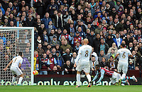 Jordan Ayew of Aston Villa scores the opening goal of the game 1-0 during the Barclays Premier League match between Aston Villa v Swansea City played at the Villa Park Stadium, Birmingham on October 24th 2015