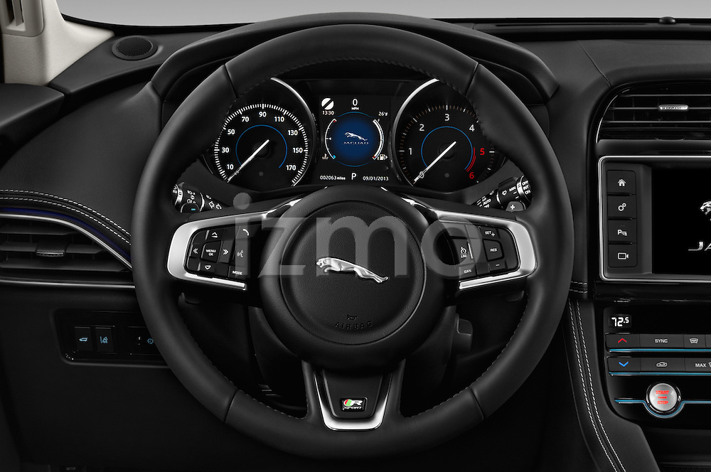 Car pictures of steering wheel view of a 2017 Jaguar F-PACE 20d-R-Sport-AWD 5 Door SUV Steering Wheel