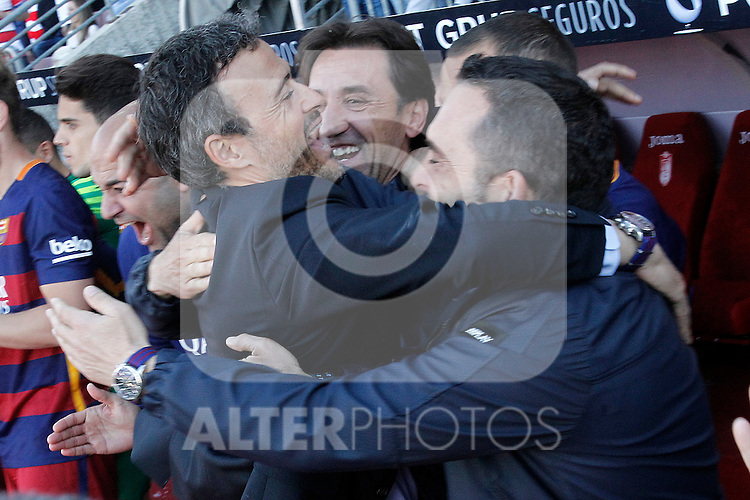 FC Barcelona's coach Luis Enrique Martinez celebrates with his assistants the victory in La Liga 2015/2016. May 14,2016. (ALTERPHOTOS/Acero)