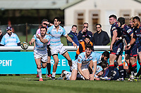 Jordan Burns of Bedford Blues passes the ball during the Greene King IPA Championship match between London Scottish Football Club and Bedford Blues at Richmond Athletic Ground, Richmond, United Kingdom on 25 March 2017. Photo by David Horn / PRiME Media Images.