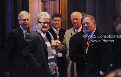Republican Senators including  Ron Johnson (R-WI) , Tom Coburn (R-OK), Richard Burr (R-NC) and Saxby Chambliss(R-Georgia) leave the Jefferson Hotel after a dinner with President Barack Obama March 6, 2013 in Washington, DC. .Credit: Olivier Douliery / Pool via CNP