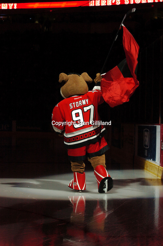 Carolina Hurricanes Ice Hog mascot Stormy skates prior to a game against the Pittsburgh Penguins in Raleigh, NC Friday, February 10, 2006. The Penguins won the game 4-3...