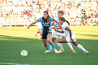 Kansas City, MO - Sunday September 11, 2016: Sofia Huerta, Katie Bowen, Frances Silva during a regular season National Women's Soccer League (NWSL) match between FC Kansas City and the Chicago Red Stars at Swope Soccer Village.