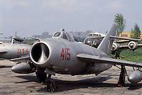 - air museum of Cracovia  (Poland), fighter airplane MIG 15  (URSS, 1950)....- museo dell' aeronautica di Cracovia (Polonia), aereo da caccia MIG 15  (URSS, 1950)