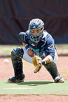 Princeton Rays catcher Oscar Hernandez (28) warms up his starting pitcher in the bullpen prior to the Appalachian League game against the Burlington Royals at Hunnicutt Field on July 15, 2012 in Princeton, West Virginia.  The Royals defeated the Rays 2-0 in game one of a double header.  (Brian Westerholt/Four Seam Images)