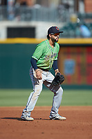 Gwinnett Braves third baseman Jack Lopez (1) on defense against the Charlotte Knights at BB&T BallPark on July 14, 2019 in Charlotte, North Carolina.  The Stripers defeated the Knights 5-4. (Brian Westerholt/Four Seam Images)